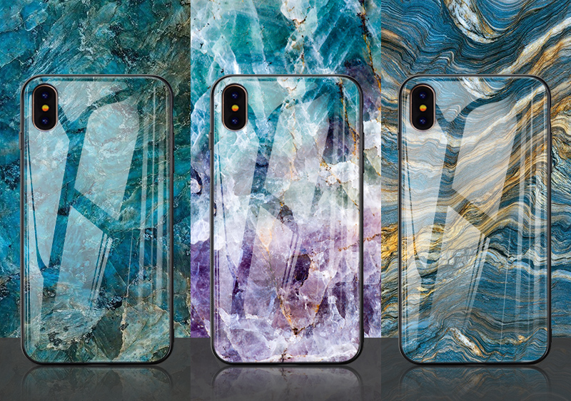 TOMKAS Luxury Marble Phone Case for iPhone X 10 Tempered Glass PC Agate Back Cover Silicone Soft Edge Coque Case for iPhone X (23)