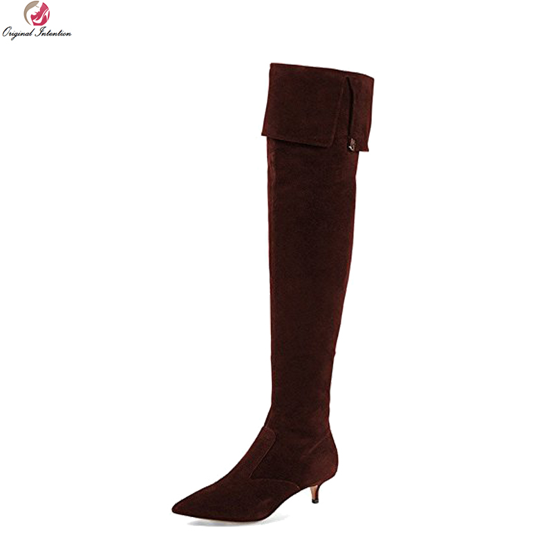 Original Intention Stylish Women Over-the-Knee Boots Pointed Toe Spike Heel Boots Fashion 3 Colors Shoes Woman Plus US Size 4-15 original intention high quality women over knee boots fashion patchwork spike heels boots shoes woman plus us size 4 15