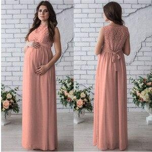 Image 2 - ยาวคลอดบุตรชุด 2018 การตั้งครรภ์ถ่ายภาพสตรีแม่แขนกุดลูกไม้ชุดราตรีเสื้อผ้าคลอดบุตร