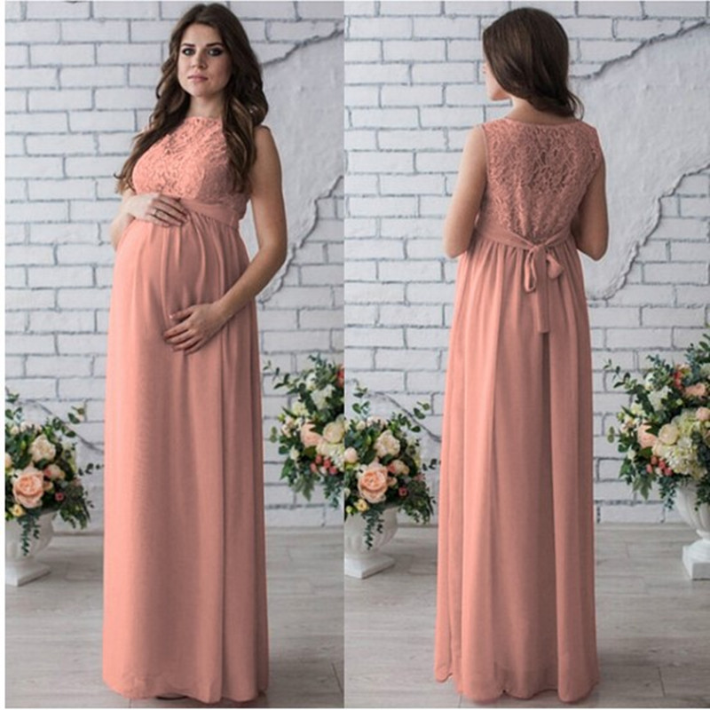 Image 2 - Long Maternity Dresses 2018 Pregnancy Photo Shoot Pregnant Women Mother Sleeveless Elegant Lace Party Evening Maternity Clothes-in Dresses from Mother & Kids