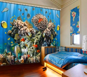 Underwater world kids Bedroom print Luxury Blackout 3D Window Curtain For Living Room Customized size Drapes Rideaux Cortinas
