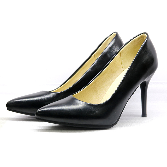 Hot Sale Brand New Fashion Beige Brown Women Formal Pumps Black High Stiletto Heels Lady Nude Shoes EH38 Plus Big Size  48 30 10