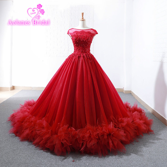 Burgundy Prom Dresses Fashion Red Ball Gown Prom Dress 2018 Saudi Arbaic  Modern Design Sheer Lace Top Corset Elegant Prom Gowns 79a1f26a264d