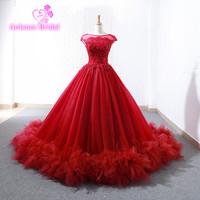 Burgundy Prom Dresses Fashion Red Ball Gown Prom Dress 2018 Saudi Arbaic Modern Design Sheer Lace Top Corset Elegant Prom Gowns