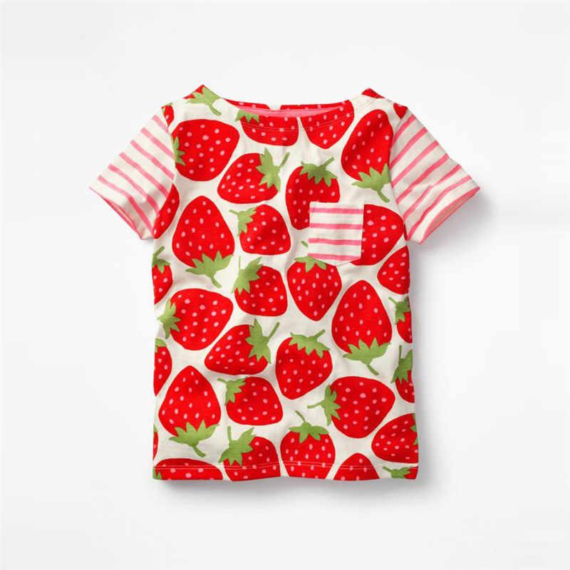 Jumping meter/Новинка, футболки с рисунками из мультфильмов для маленьких девочек с принтом клубники, новая летняя футболка в полоску с короткими рукавами для детей