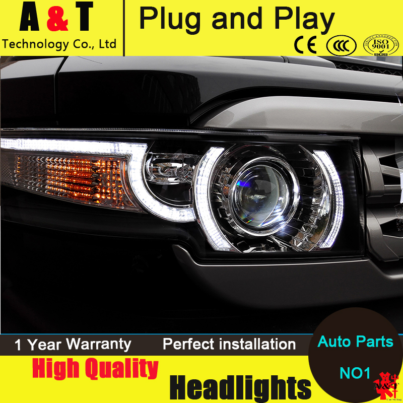 Car Styling For Toyota FJ Cruiser headlight assembly 2006-2015 FJ150 Headlight+Grille Angel eyes led drl H7 with hid kit 2pcs. hireno headlamp for 2003 2009 toyota land cruiser prado headlight assembly led drl angel lens double beam hid xenon 2pcs