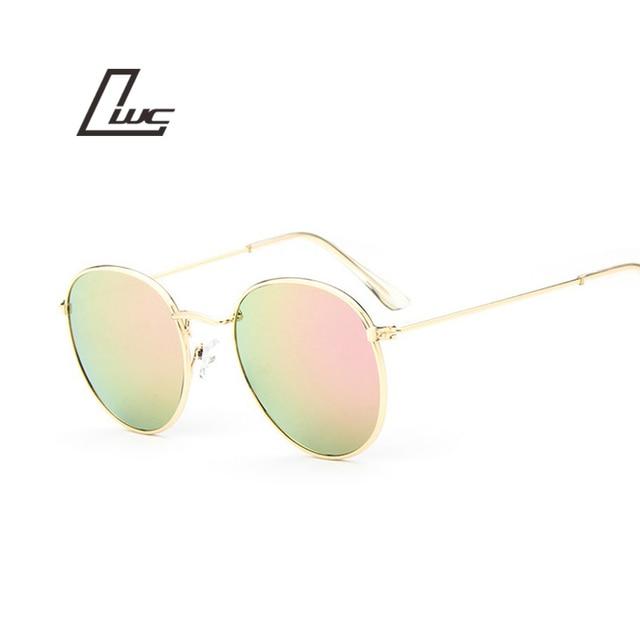 2016 retro round sunglasses women men brand designer sun glasses for women Alloy mirror sunglasses ray female oculos de sol