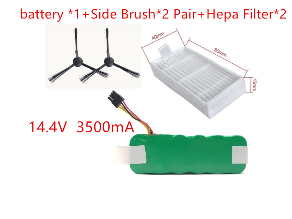 NI MH 14 4V 3500mAh Vacuum Cleaner Battery Hepa Filter Side Bursh For Dibea Panda X500