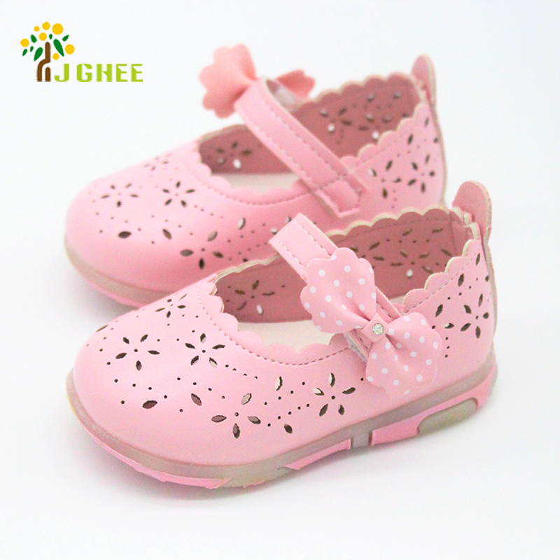 J Ghee 2017 Summer Baby Girl Sandals Bowtie Children Shoes Synthetic PU Leather Small Kids Sandals