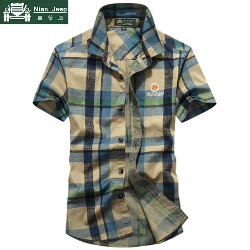 NIANJEEP 2018 New Summer Plaid Short Sleeves Shirts Men Casual Cotton Breathable Mens Shirt camisas para hombre Size M-4XL ...