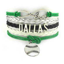 Infinity Love NFL Dallas Baseball Sport Team Bracelet Grass Silver White Customized Sports Team Wrist Bracelet