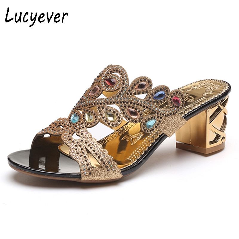 Lucyever 2018 Summer New Bohemian Women Sandals Crystal High Heel Sandalias Classic Rhinestone Women Party Shoes Flip Flops 2018 new bohemian women sandals crystal flat heel sandalias rhinestone chain women wedge shoes thong flip flops shoes