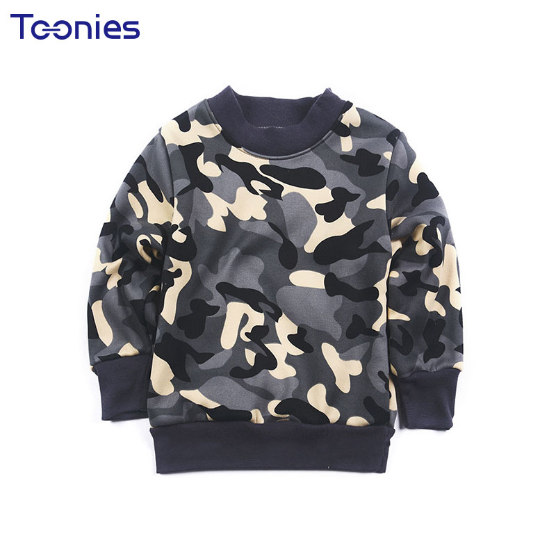 Sweatshirt for Kids New Winter Children Sweatshirts Long Sleeve Child Pullover Top Cashmere Camouflage Print Unisex Clothes Warm