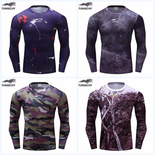 New TUNSECHY thương hiệu 3 d in ngụy trang, cây, rừng, tight dài tay áo T-Shirt thiết kế người đàn ông ngoài trời thể thao T-Shirt