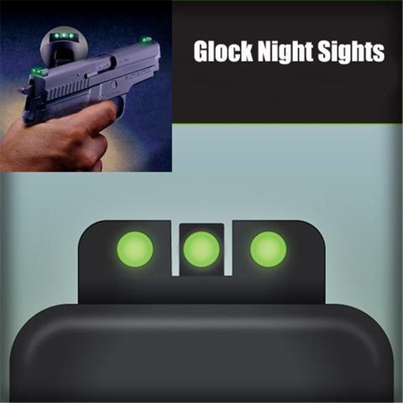 Fyzlcion GLOCK 17/19/22/23/24/26/27/33/34/35 Tactical Glow-in-the-Dark Night Sight Front And Rear Sight Set For Glock Pistols 9m