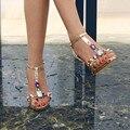 Плюс размер роскошный горный хрусталь сандалии сексуальные тонкие каблуки на высоких каблуках кристалл лето женская обувь