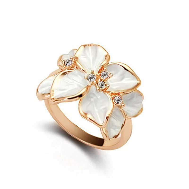 แฟชั่นเครื่องประดับแหวน Rose Gold สีคริสตัลสีดำดอกไม้งานแต่งงานแหวนของขวัญผู้หญิง