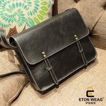 ETONWEAG New 2017 men brands Italian leather black business style laptop bag document shoulder bag crossbody messenger bags