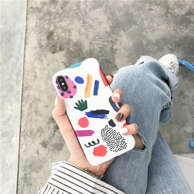 Colorful Lovely Graffiti Cartoon TPU Soft Case For iPhone 1