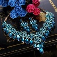 Tuliper Enamel Flower Teardrop Bridal Necklace Earrings Set Austrian Crystal Rhinestone Wedding Jewelry Set For Wedding