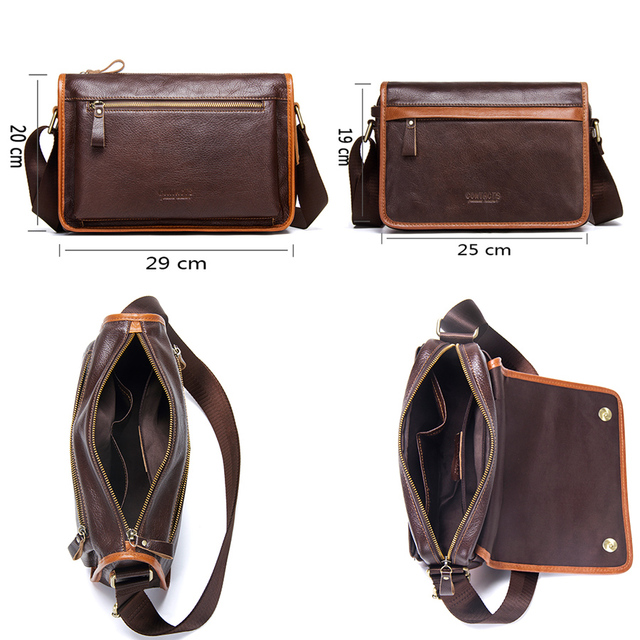 2018 New Casual Men's Shoulder Crossbody Bag High Quality Genuine Leather Luxury Satchel Bags With Phone Pocket Messenger Bag 3