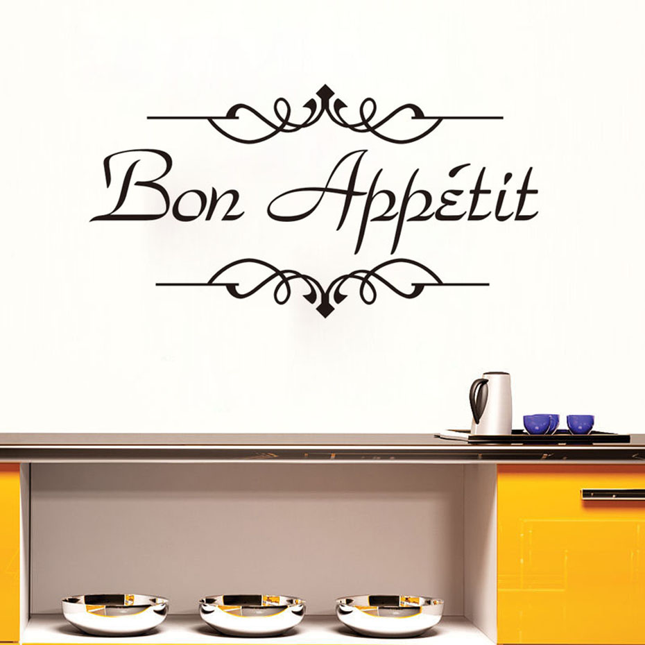 Food Wall Stickers Bon Appetit Wallpaper Kitchen Room Decoration Dining Room Decals Removable Vinyl Wallpaper Home Decoration