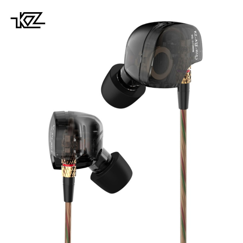 KZ ATE Copper Driver Headset Promotional HiFi Sport Headphones 1DD dynamic In Ear Earphone For Running With Microphone 2pcs 3pcs kz hd9 sport headphone copper driver original hifi sport earphones in ear earbuds for running with microphone game headset