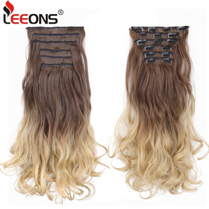 Leeons 22 Inch Long Curly Fake Hair Clip 16 Clip On Hair Extension Natural Synthetic Hair Heat Resistant Fiber Hair Ombre Color