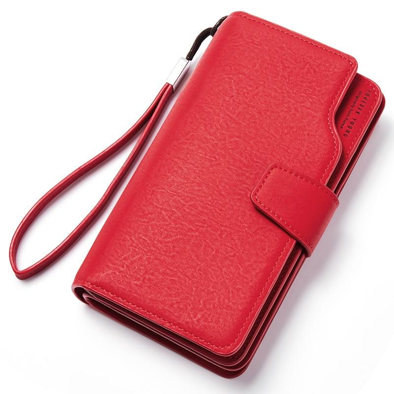 Женский кожаный кошелек, кошелек для отдыха, 3 сложения, высокое качество, Женский Длинный кошелек для монет, много слотов для карт, кошельки, Carteira Feminina - Цвет: Red