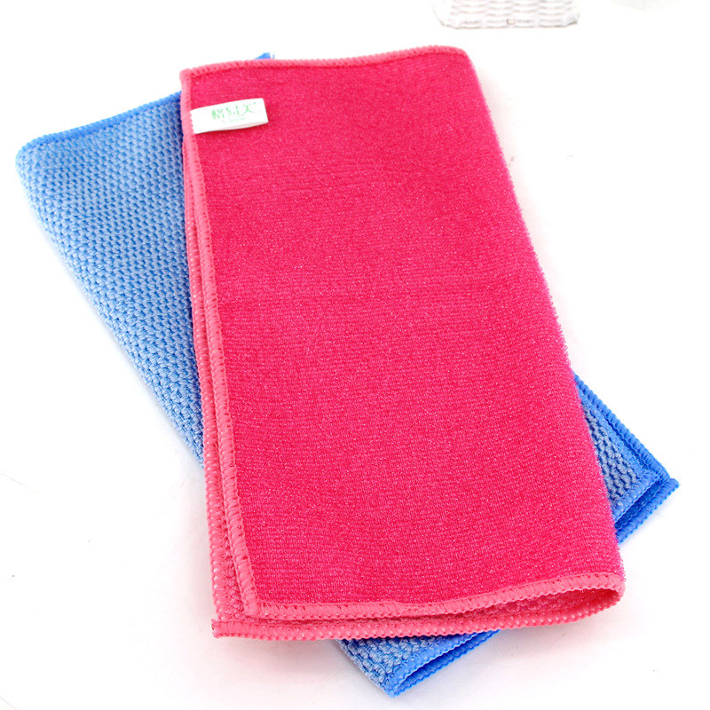 2pcs household cleaning towel ultra-fine fiber stripes green water free marks no hair kitchen dishcloth bedroom tea table