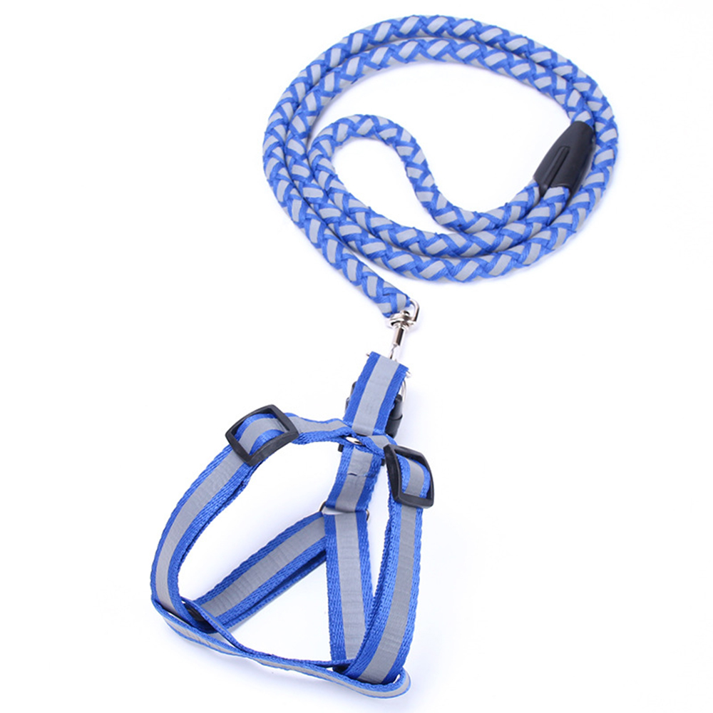 Fashion wear-resistant pull-resistant pet reflective weaving traction rope + dog chest strap Blue S