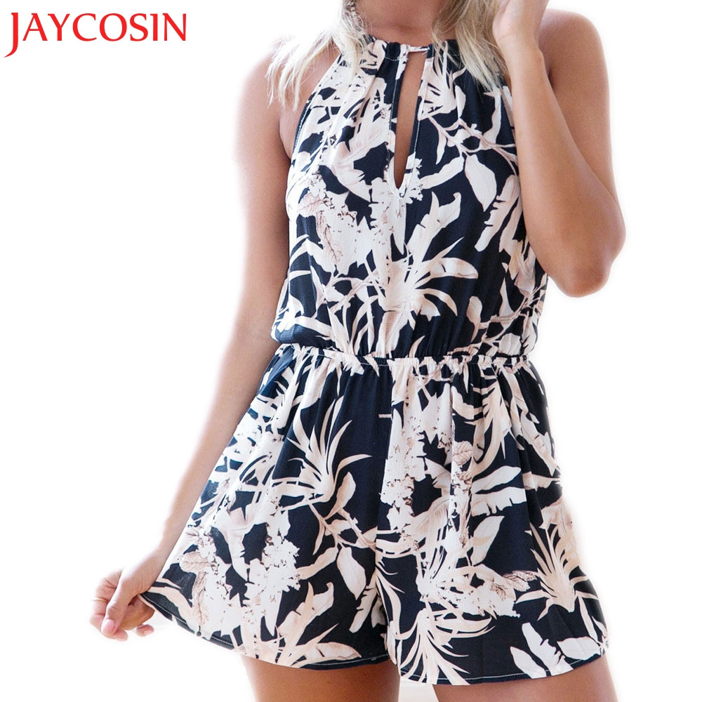 JAYCOSIN 2017 Jumpsuits Women Sexy Casual Ladies Hollow Out Summer Beach Strappy Playsuit C7717Q Free Shiping