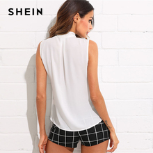 SHEIN Tie Neck Bow Sleeveless Solid Top Women White Stand Collar Elegant Blouse 2018 Summer New Female Plain Workwear Blouse
