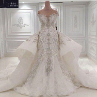 Luxury 2017 Hot Sales Off The Shoulder Sleeves Ivory Organza and Lace Bling Bling Mermaid Wedding Dress with Detachable Train