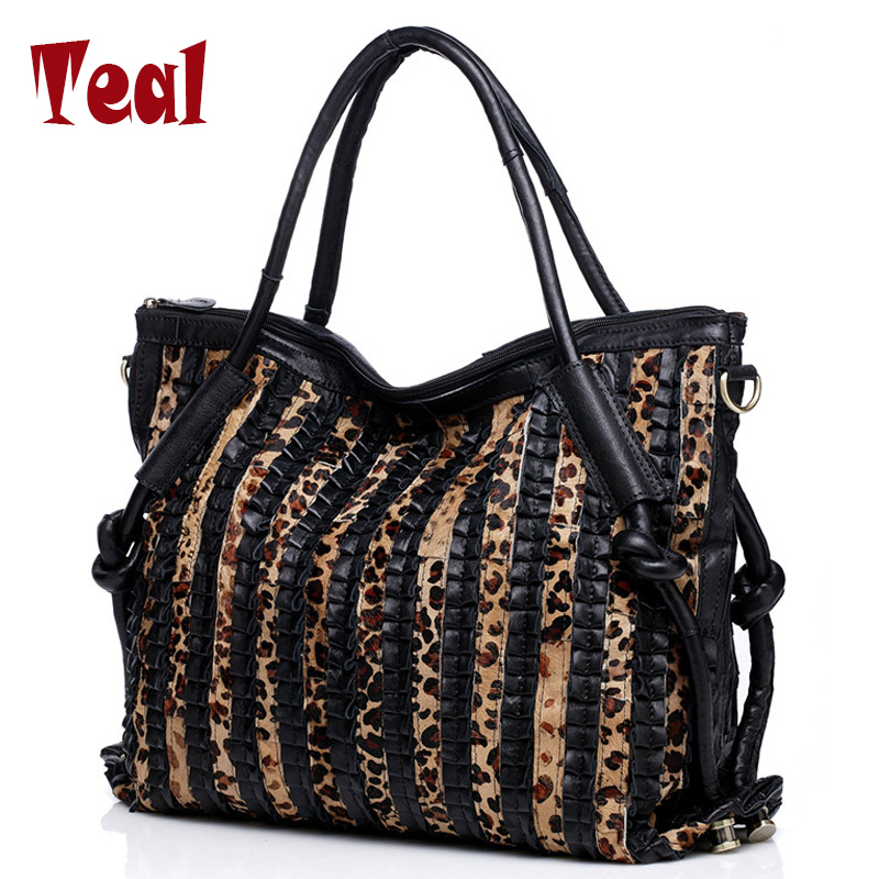 Women bag ladies handbags genuine  leather sheepskin tote leopard shoulder bag black famous designer brands High Quality оки суппозитории ректальные 160мг 10шт