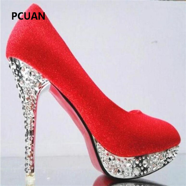 Bridal shoes wedding shoes ladies waterproof platform shallow mouth round head high heels crystal sequins 11cm high heels 35-41 4