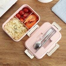 Ланч-бокс контейнер для еды Bento box Ланчбокс с подогревом детский Ланчбокс Снэк Пшеничная солома Корейская герметичная Студенческая пластиковая коробка для еды