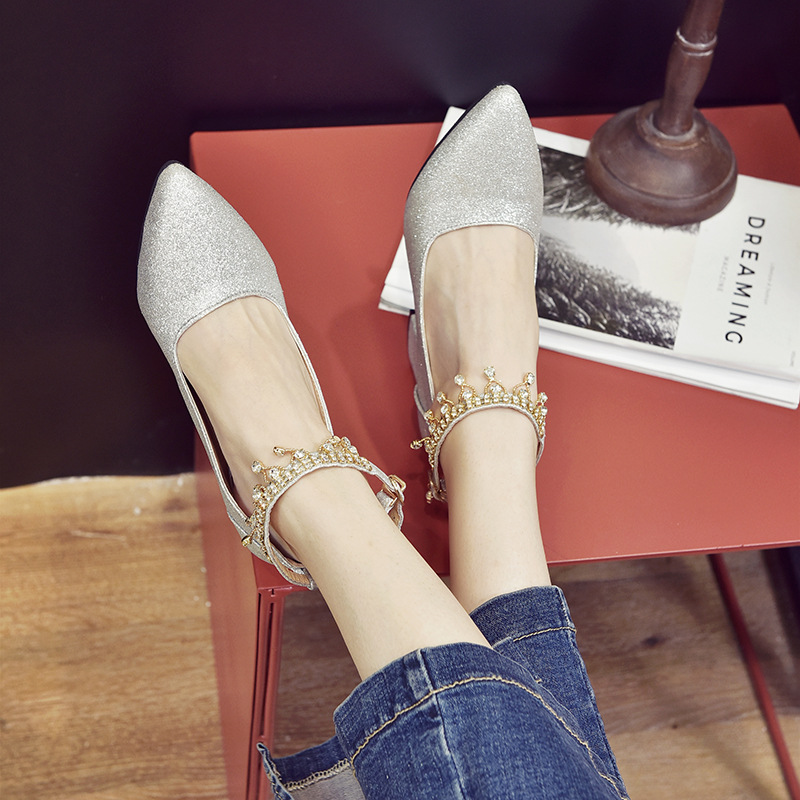 New Korean Version Of Bead-pointed Sequins For Shallow-mouthed Wedding Shoes, Thick-heeled Single-woman Shoes, High-heeled Shoes 17