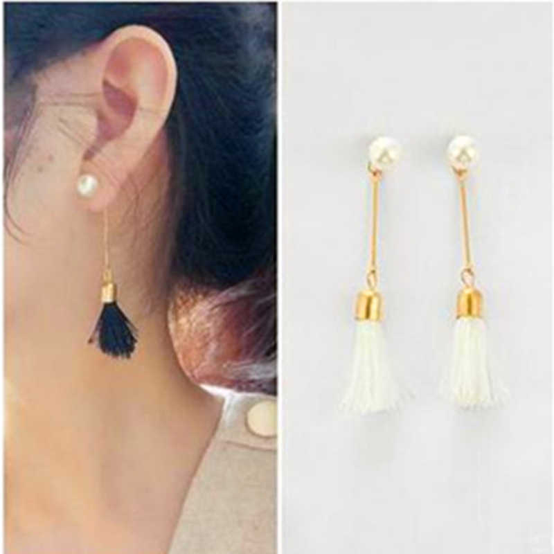 E037 Fashion Pearl Drop&Dangle Earrings Black White Tassel Earring For Women Girl Statement Ear Jewelry Exquisite Gift Wholesale