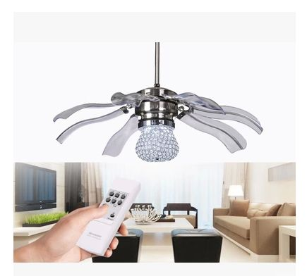 New 42inch k9 crystal led fan lights ceiling fan modern minimalist bedroom restaurant abs ceiling fans