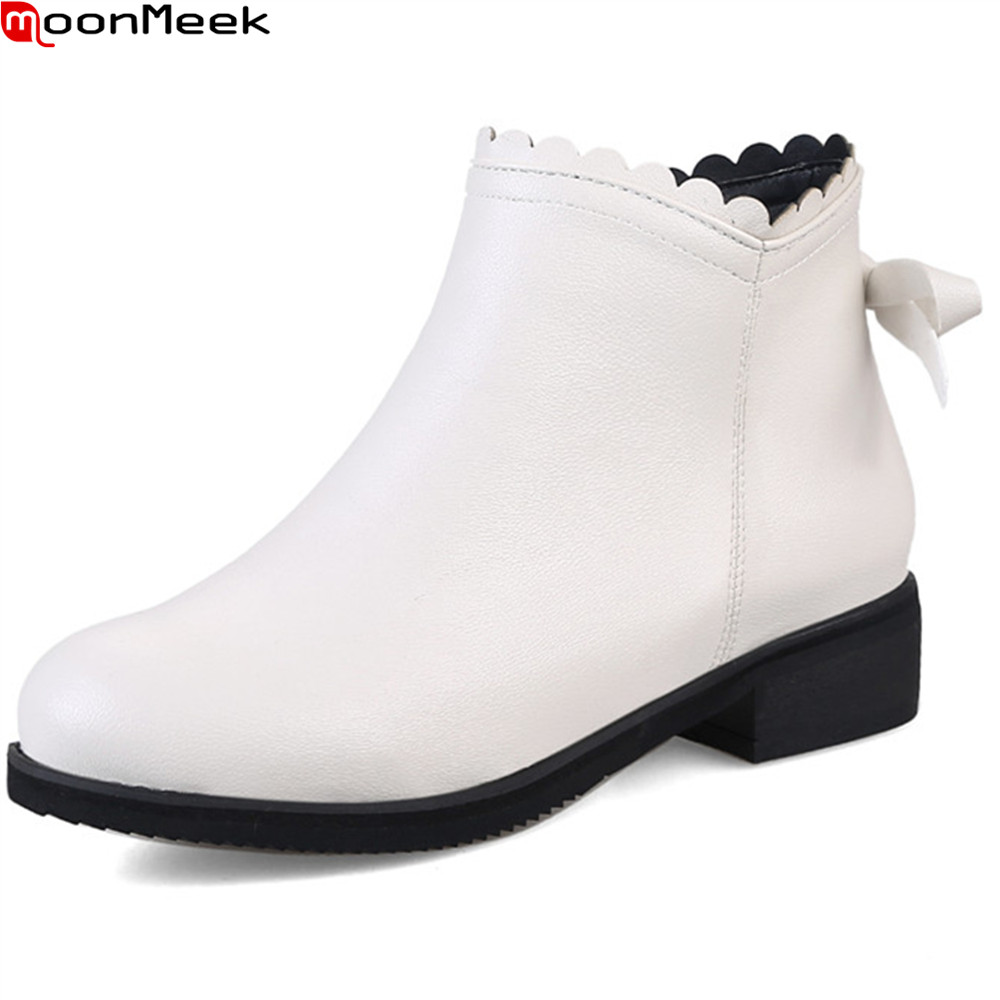 MoonMeek 2018 hot sale new arrive women boots round toe zipper black white pink butterfly knot square heel ankle boots plus size цена и фото