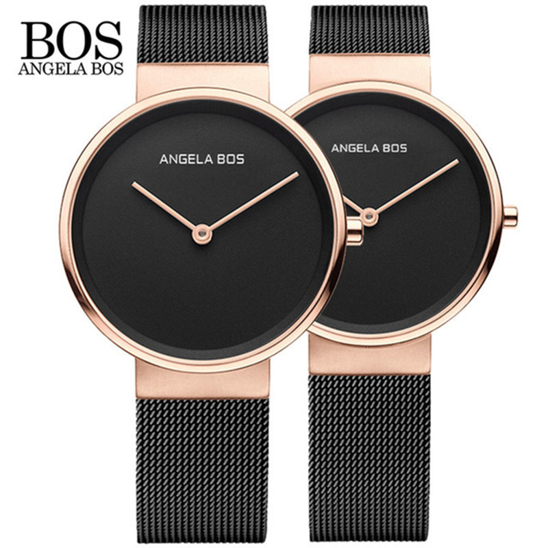 2018 New Top Brand BOS Men Quartz Watches Ultra Thin Simple Couple Watch Women Stainless Steel Mesh Strap Ultra Thin Wristwatch