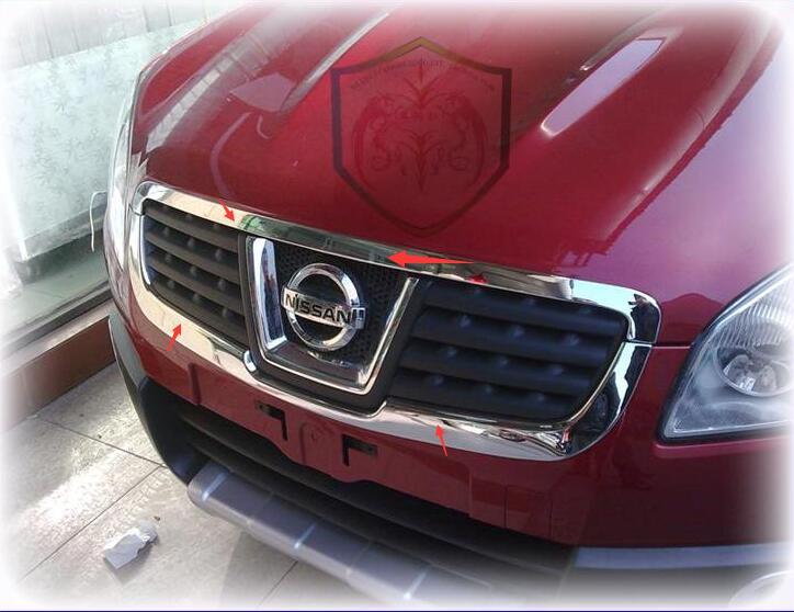 2 pièces/ensemble ABS Chrome calandre autour de garniture décoration accessoires de voiture Fit pour Qashqai Dualis 2008 2009 2010 2011