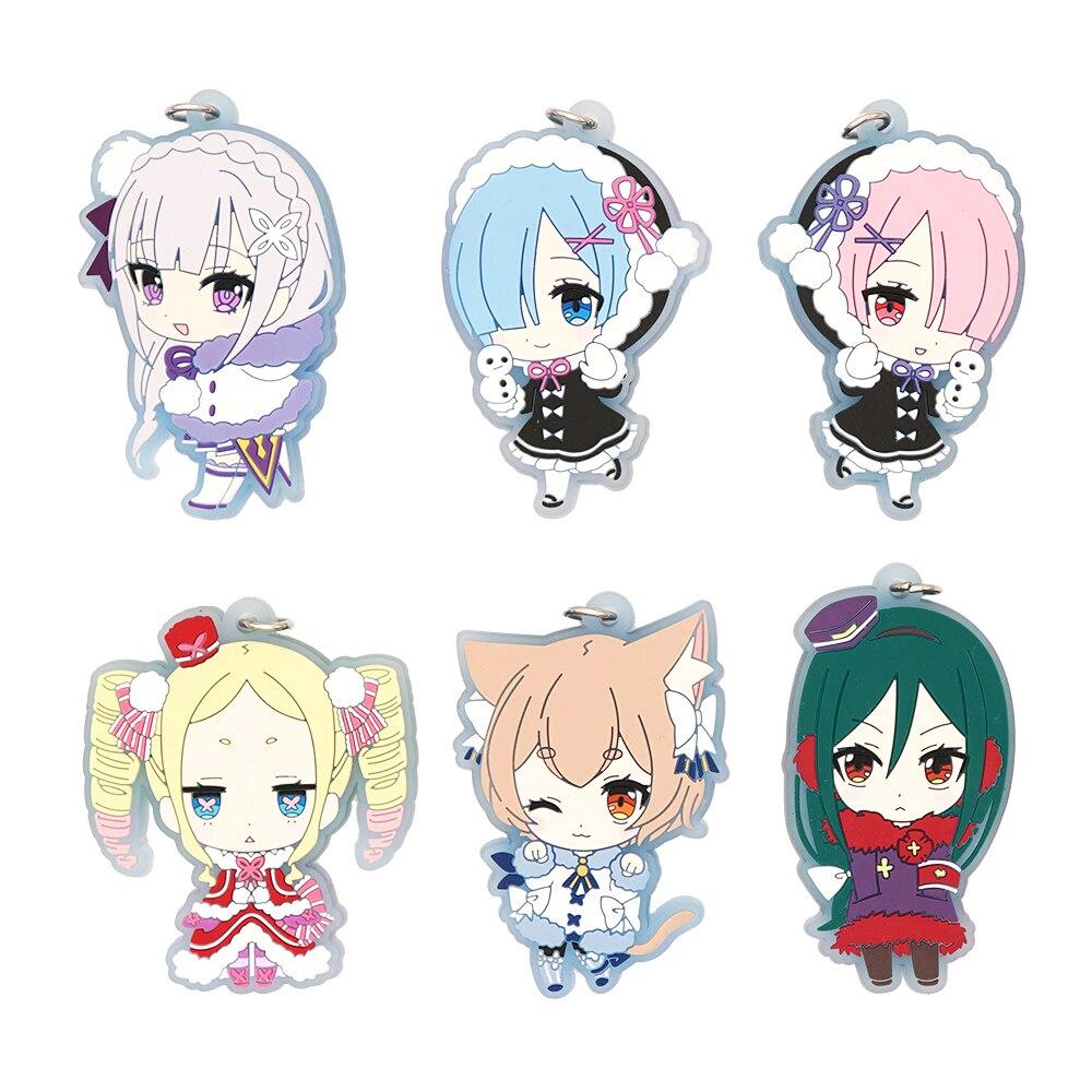 Rezero Anime Strap Emilia Rem Ram Beatrice Felix Re:Zero Kara Hajimeru Isekai Seikatsu Winter Suit Rubber Keychain