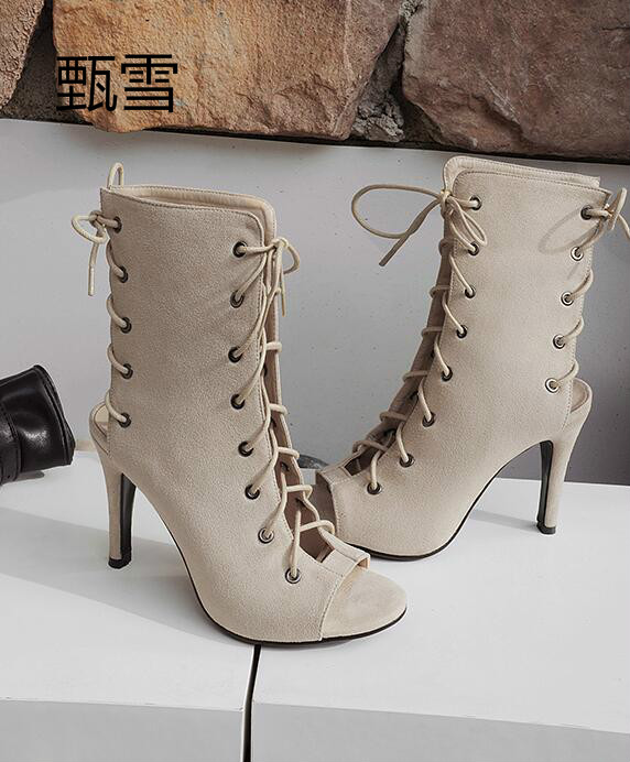 High-heeled Shoes, Female Cool Boots, Womens Matte Suede, Fish Mouth Sandals, Female 2017 Summer Style
