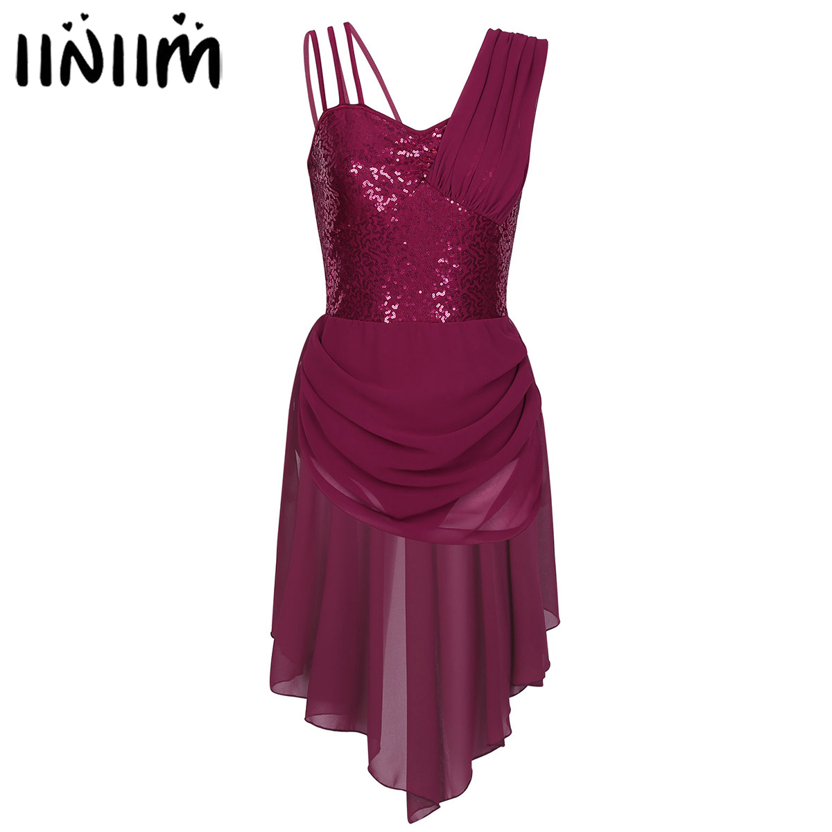 iiniim Women Femme Ballet Costume Spaghetti Straps Sequins Reflective Irregular Chiffon Ballet Dance Leotard Gymnastic Dress
