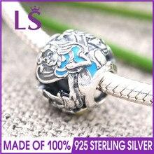 LS высокое качество 925 стерлингового серебра Алиса в стране чудес ажурный Шарм подходят оригинальный Для женщин Бусины и бисер Браслеты 100% Красивые ювелирные изделия j