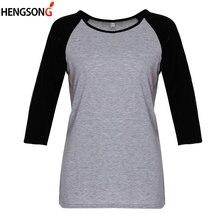 e98b3366 Nueva camisa de las mujeres t camiseta Patchwork camiseta camisetas  femeninas ropa de mujer de manga raglán en contraste de Tops.