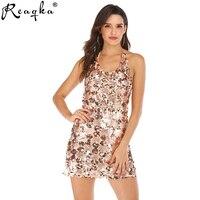Reaqka Elegant Party Sequin Women Dress Sexy Sleeveless Summer Mini Dress Sequined Club Bodycon Ladies Dresses Shining Vestidos
