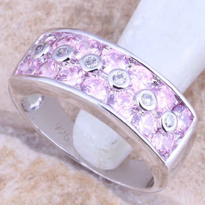 3ab52064b297 Noble Rosa Blanco CZ plata estampada 925 mujeres anillo de la joyería  tamaño 5 6 7 8  9 R1473